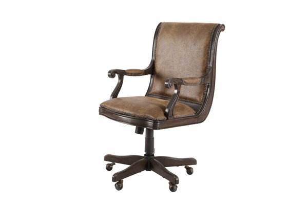 Broughton Hall Traditional Nutmeg Wood Fully Upholstered Desk Chair MG-H2354-83