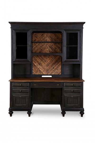 Barnhardt French Black Natural Acacia Wood Credenza w/Hutch MG-H2588-30-31