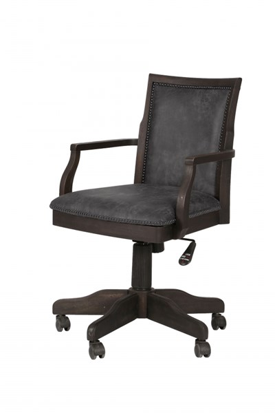 Barnhardt Traditional Black Acacia Wood Fully Upholstered Desk Chair MG-H2588-83