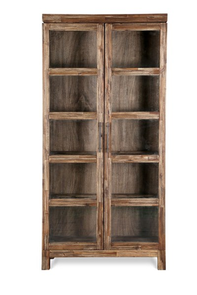 Adler Transitional Wired Brushed Acacia Wood Door Bookcase MG-H2596-22