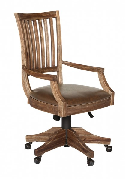 Adler Transitional Wired Brushed Acacia Wood Desk Chair MG-H2596-82