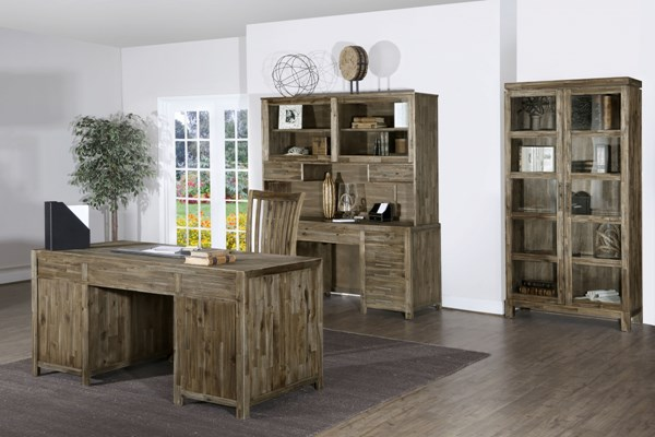 Adler Transitional Wired Brushed Acacia Wood Office Furniture Set MG-H2596