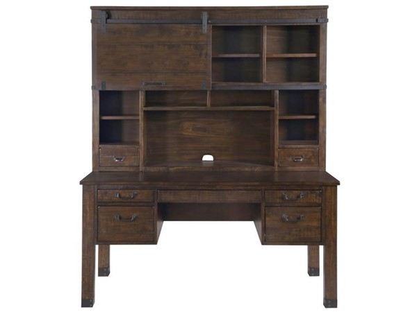Pine Hill Transitional Rustic Pine Wood Secretary Hutch MG-H3561-50T