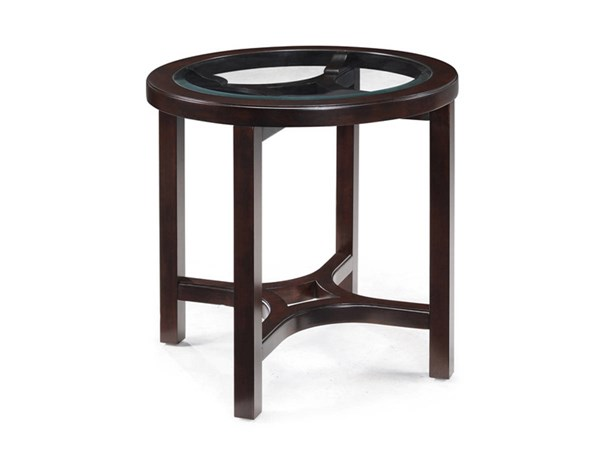 Juniper Casual Mink Brown Wood Glass Round End Table MG-T1020-05