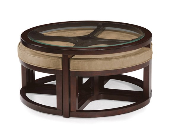 Juniper Casual Mink Brown Wood Glass Round Cocktail Table W/4 Stools MG-T1020-45