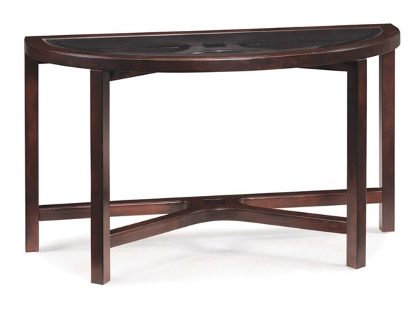 Juniper Casual Mink Brown Wood Glass Demilune Sofa Table MG-T1020-75