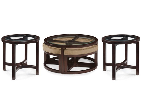 Juniper Casual Mink Brown Wood Glass 3pc Coffee Table Set MG-T1020-S