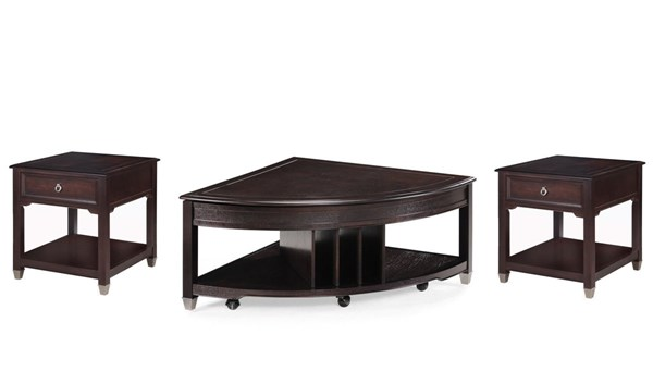 Darien Traditional Burnt Umber Wood 3pc Pie Shaped Coffee Table Set MG-T1124-S1