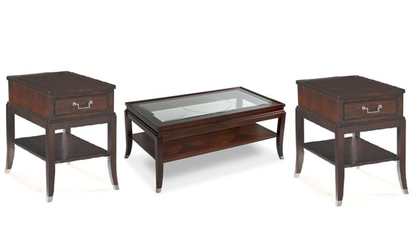 Lakefield Traditional Merlot Wood Glass 3pc Coffee Table Set MG-T1258-S