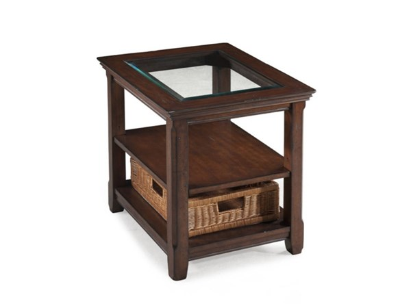 Tanner Casual Tobacco Wood Glass Rectangular End Table MG-T1297-03