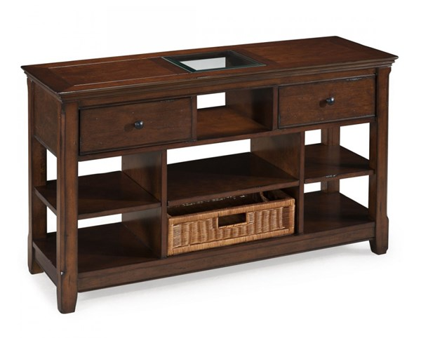 Tanner Casual Tobacco Wood Glass Rectangular Sofa Table MG-T1297-73
