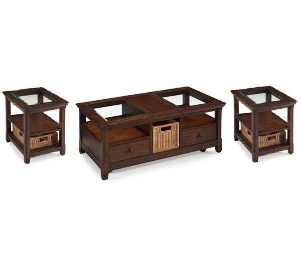 Tanner Casual Tobacco Wood Glass 3pc Coffee Table Set MG-T1297-S