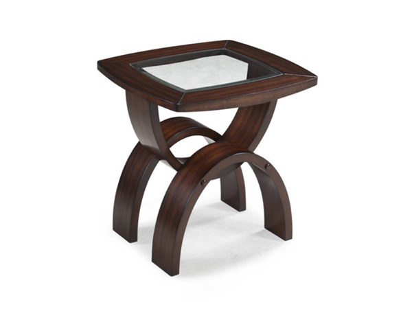 Helix Casual Hazelnut Wood Glass Rectangular End Table MG-T1351-03