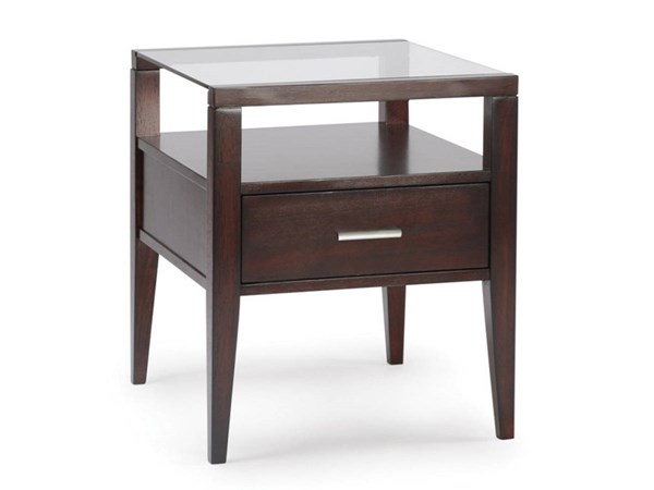 Baker Casual Merlot Wood Glass Rectangle End Table MG-T1393-03