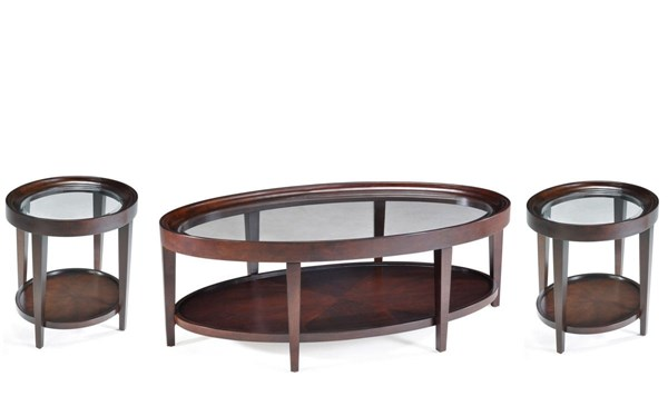 Carson Traditional Sienna Wood Glass 3pc Oval Coffee Table Set MG-T1632-S