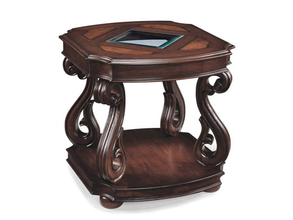 Harcourt Traditional Cherry Wood Glass Rectangular End Table MG-T1648-03