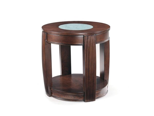 Ino Casual Burnt Umber Wood Glass Oval End Table MG-T1738-07
