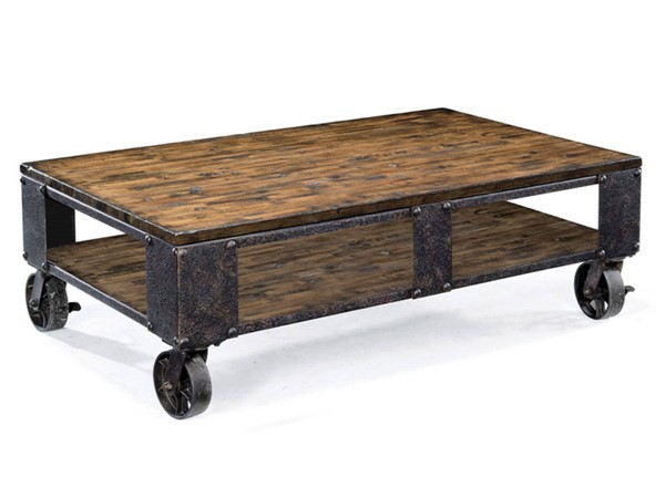 Pinebrook Natural Pine Wood Rectangular Braking Caster Cocktail Table MG-T1755-43