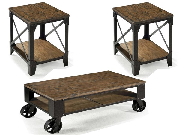 Pinebrook Transitional Natural Pine Wood Metal 3pc Coffee Table Set MG-T1755-OCT-S1