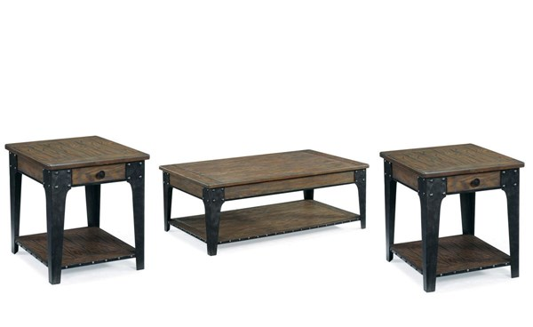 Lakehurst Casual Natural Wood 3pc Coffee Table Set MG-T1806-S