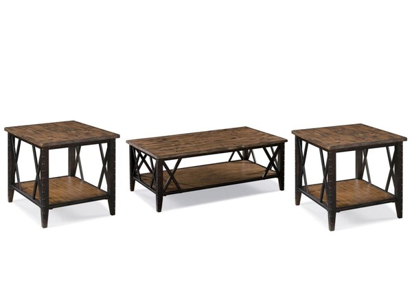 Fleming Casual Rustic Pine Wood Metal 3pc Coffee Table Set MG-T1908-S
