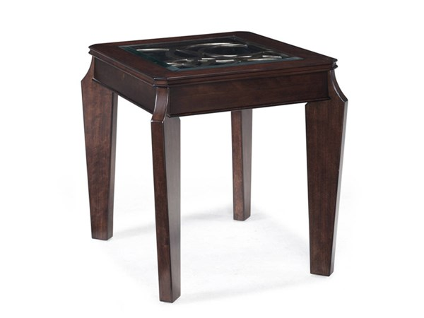 Ombrio Casual Cherry Wood Glass Rectangular End Table MG-T2034-03