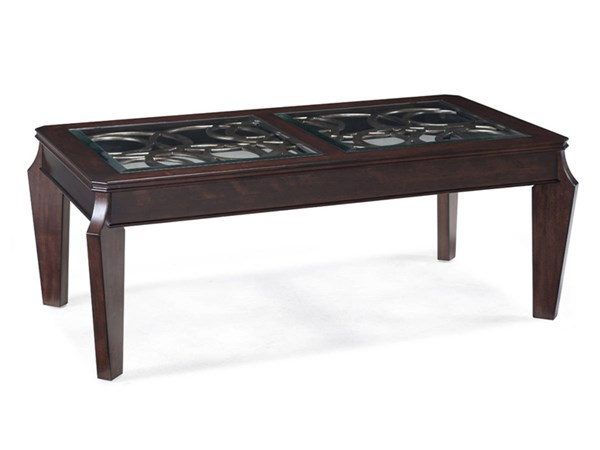 Ombrio Casual Cherry Wood Glass Rectangular Cocktail Table MG-T2034-43