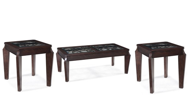 Ombrio Casual Cherry Wood Glass 3pc Rectangular Coffee Table Set MG-T2034-S