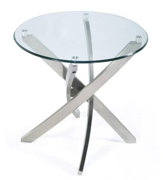 Zila Modern Nickel Glass Round End Table Top MG-T2050-05T