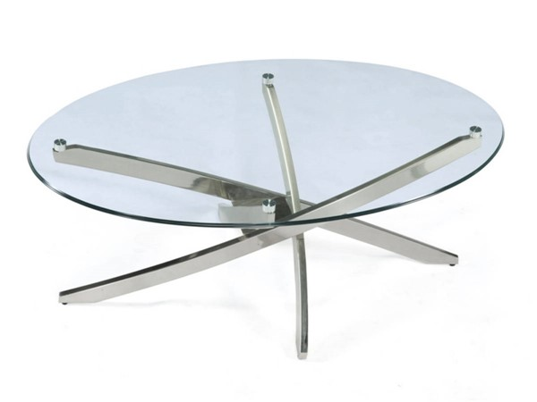 Zila Modern Brush Nickel Metal Oval Cocktail Table Base MG-T2050-47B