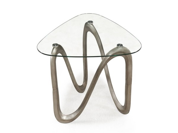 Spano Casual Brushed Pewter Glass Shaped End Table MG-T2053-22