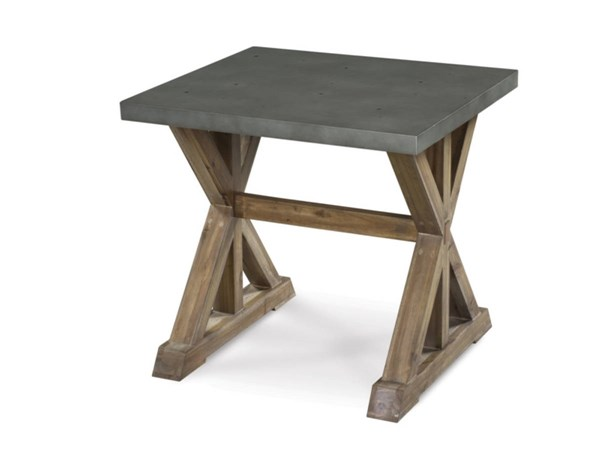 Lybrook Casual Aged Zinc Antique Natural Wood Rectangular End Table MG-T2058-03
