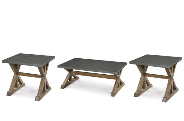 Lybrook Casual Aged Zinc Antique Natural Wood Coffee Table Set MG-T2058