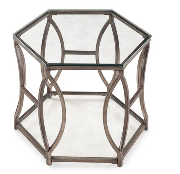 Nevelson Opulence Antique Gold Metal Glass Hexagonal End Table MG-T2060-08