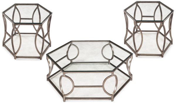 Nevelson Opulence Gold Metal Glass 3pc Hexagonal Coffee Table Set MG-T2060-S