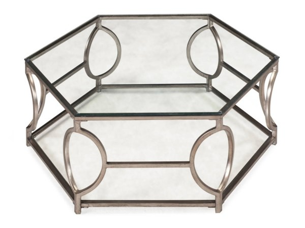 Nevelson Opulence Gold Glass Hexagonal Cocktail Table Top w/Shelf MG-T2060-48T