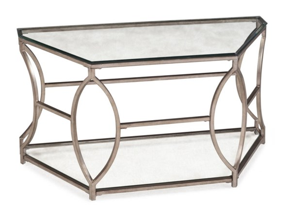 Nevelson Opulence Antique Gold Metal Glass Demilune Sofa Table MG-T2060-75