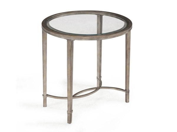 Copia Casual Antique Silver Metal Glass Oval End Table MG-T2114-07
