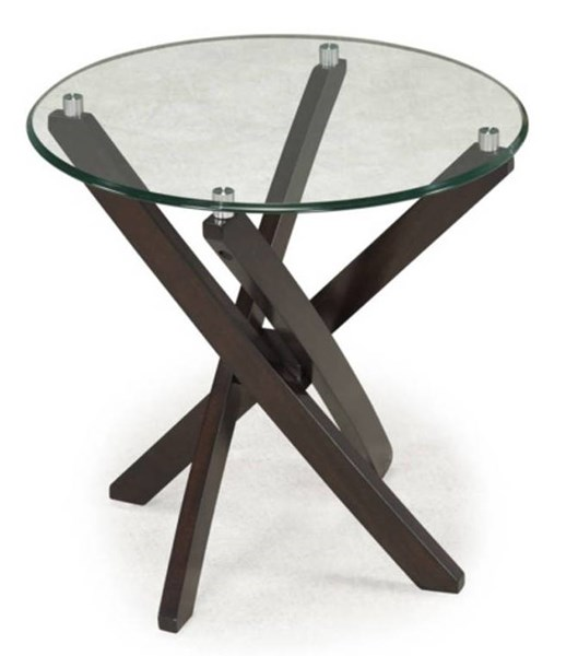 Xenia Modern Espresso Glass Round End Table Top MG-T2184-05T