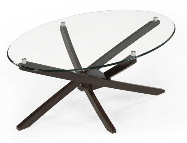 Xenia Modern Espresso Wood Glass Oval Cocktail Table MG-T2184-47