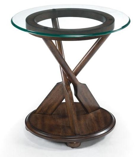 Beaufort Coastal/Cottage Dark Oak Wood Glass Round End Table MG-T2214-05