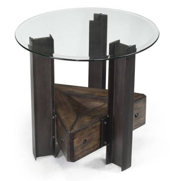 Rowan Casual Chestnut Wood Glass Round End Table MG-T2215-05