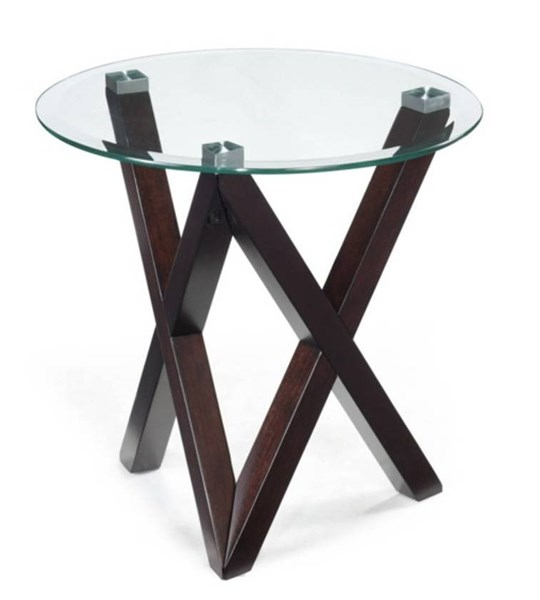 Visio Modern Merlot Glass Round End Table Top MG-T2282-05T