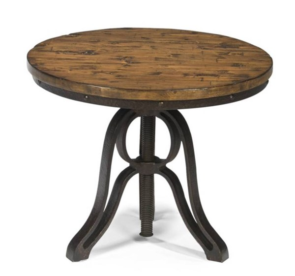 Cranfill Transitional Aged Pine Wood Metal Round End Table MG-T2299-05
