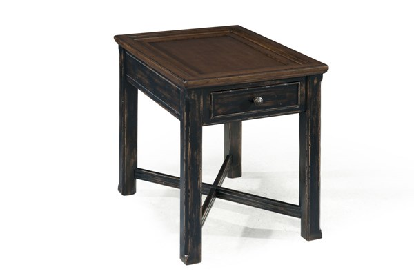 Clanton Transitional Antique Black Brown Wood Rectangular End Table MG-T2365-03