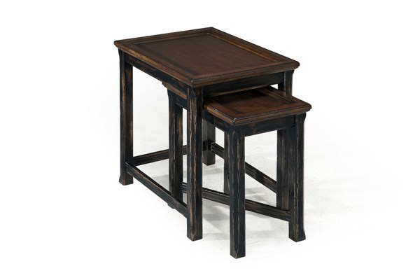 Clanton Transitional Antique Black Brown Wood Bunching End Table MG-T2365-12