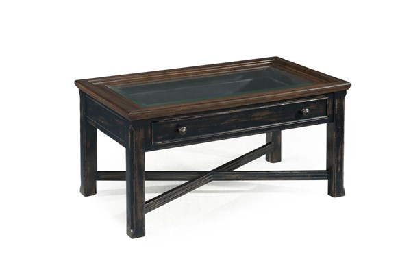 Clanton Transitional Black Wood Glass Small Rectangular Cocktail Table MG-T2365-43