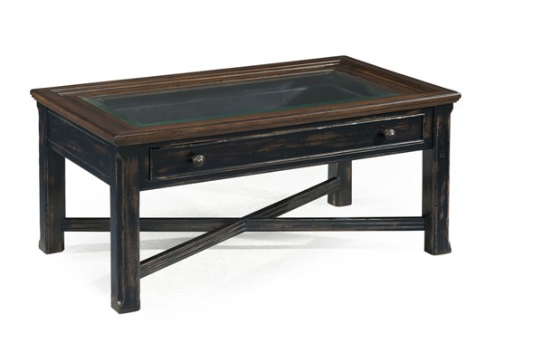 Clanton Transitional Black Wood Glass Large Rectangular Cocktail Table MG-T2365-50