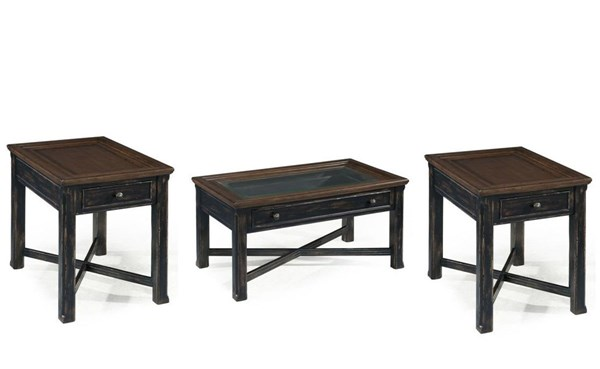 Clanton Black Wood Glass 3pc Coffee Table Set w/Small Table MG-T2365-OCT-S1