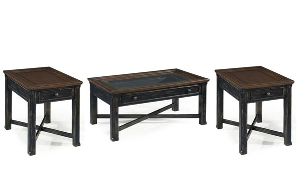 Clanton Transitional Black Wood Glass 3pc Coffee Table Set MG-T2365-OCT-S2